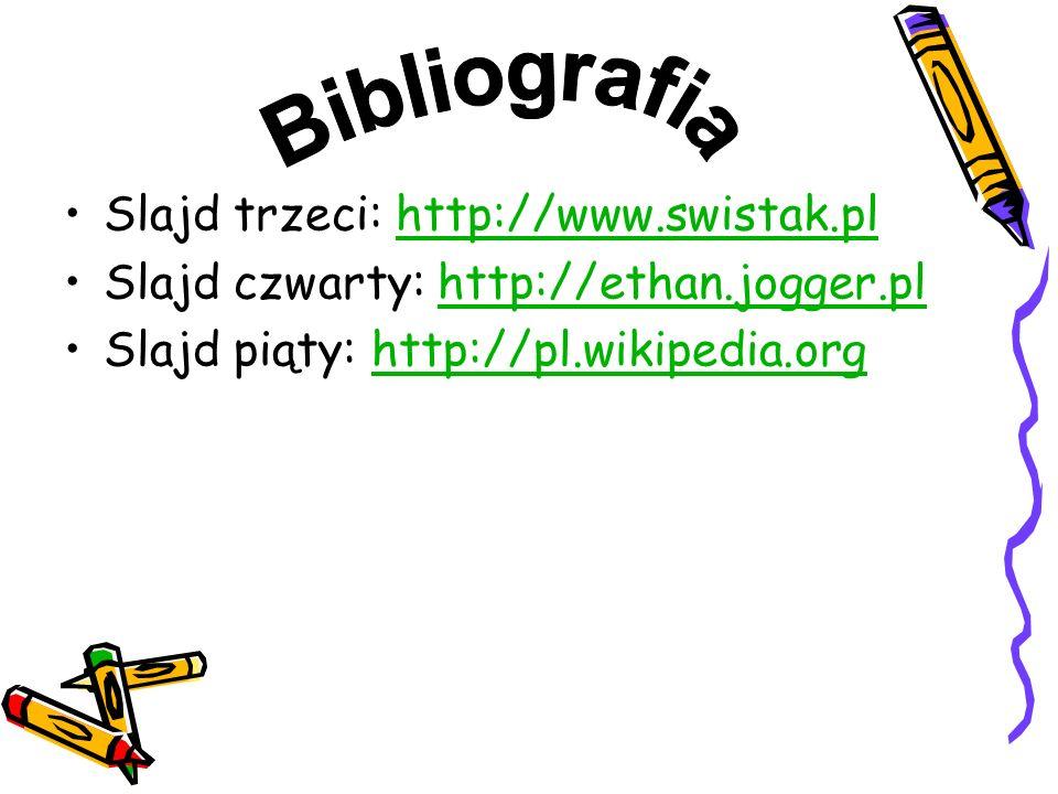Slajd trzeci: http://www.swistak.plhttp://www.swistak.pl Slajd czwarty: http://ethan.jogger.plhttp://ethan.jogger.pl Slajd piąty: http://pl.wikipedia.org