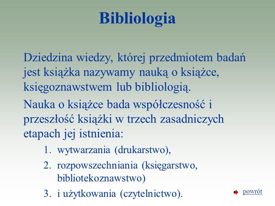 Bibliologia Dziedzina wiedzy, której przedmiotem badań jest książka nazywamy nauką o książce, księgoznawstwem lub bibliologią. Nauka o książce bada ws
