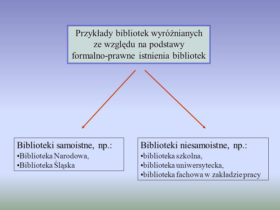 Przykłady bibliotek wyróżnianych ze względu na podstawy formalno-prawne istnienia bibliotek Biblioteki samoistne, np.: Biblioteka Narodowa, Biblioteka
