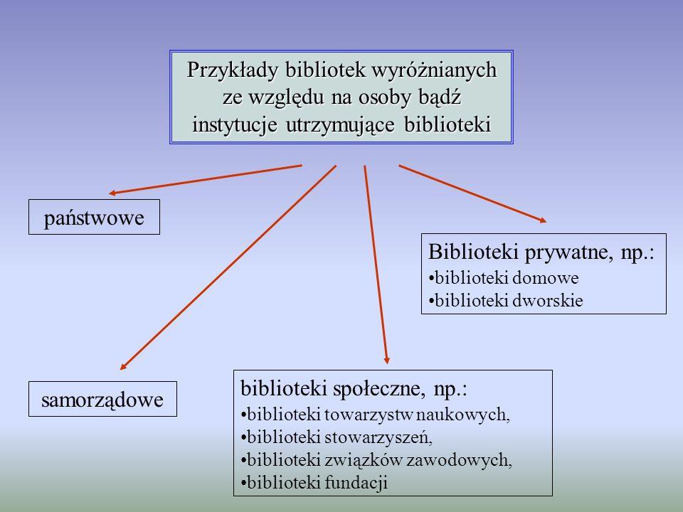 Przykłady bibliotek wyróżnianych ze względu na osoby bądź instytucje utrzymujące biblioteki samorządowe państwowe biblioteki społeczne, np.: bibliotek