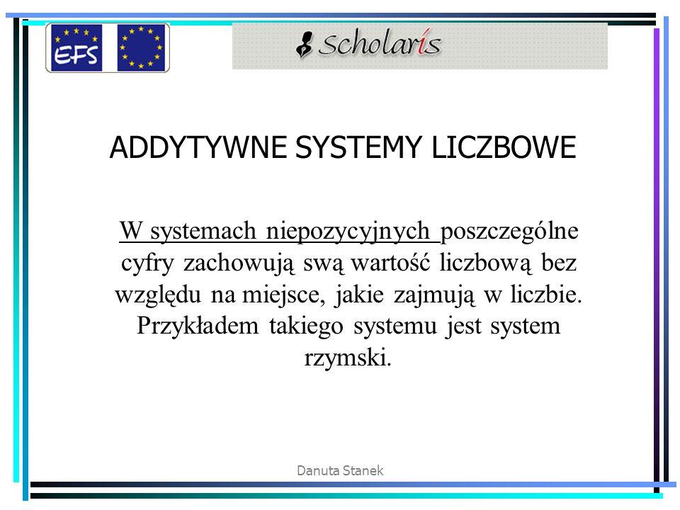 Danuta Stanek ADDYTYWNE SYSTEMY LICZBOWE W systemach niepozycyjnych poszczególne cyfry zachowują swą wartość liczbową bez względu na miejsce, jakie za