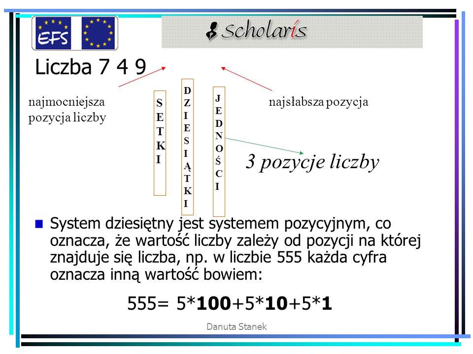 Danuta Stanek Liczba 7 4 9 System dziesiętny jest systemem pozycyjnym, co oznacza, że wartość liczby zależy od pozycji na której znajduje się liczba,
