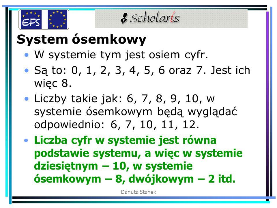 Danuta Stanek System ósemkowy W systemie tym jest osiem cyfr. Są to: 0, 1, 2, 3, 4, 5, 6 oraz 7. Jest ich więc 8. Liczby takie jak: 6, 7, 8, 9, 10, w