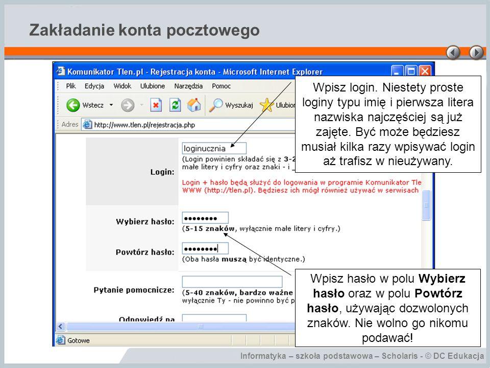 Informatyka – szkoła podstawowa – Scholaris - © DC Edukacja Wysyłanie wiadomości Kliknij łącze Napisz e-mail.