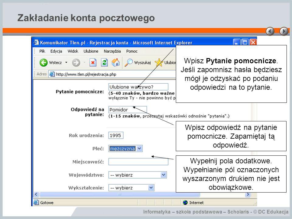Informatyka – szkoła podstawowa – Scholaris - © DC Edukacja Podsumowanie Co to jest poczta elektroniczna.