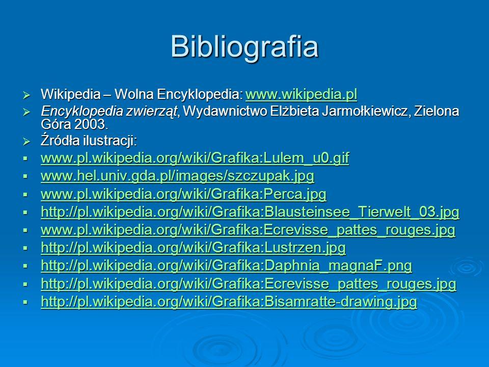 Bibliografia Wikipedia – Wolna Encyklopedia: www.wikipedia.pl Wikipedia – Wolna Encyklopedia: www.wikipedia.pl www.wikipedia.pl Encyklopedia zwierząt, Wydawnictwo Elżbieta Jarmołkiewicz, Zielona Góra 2003.