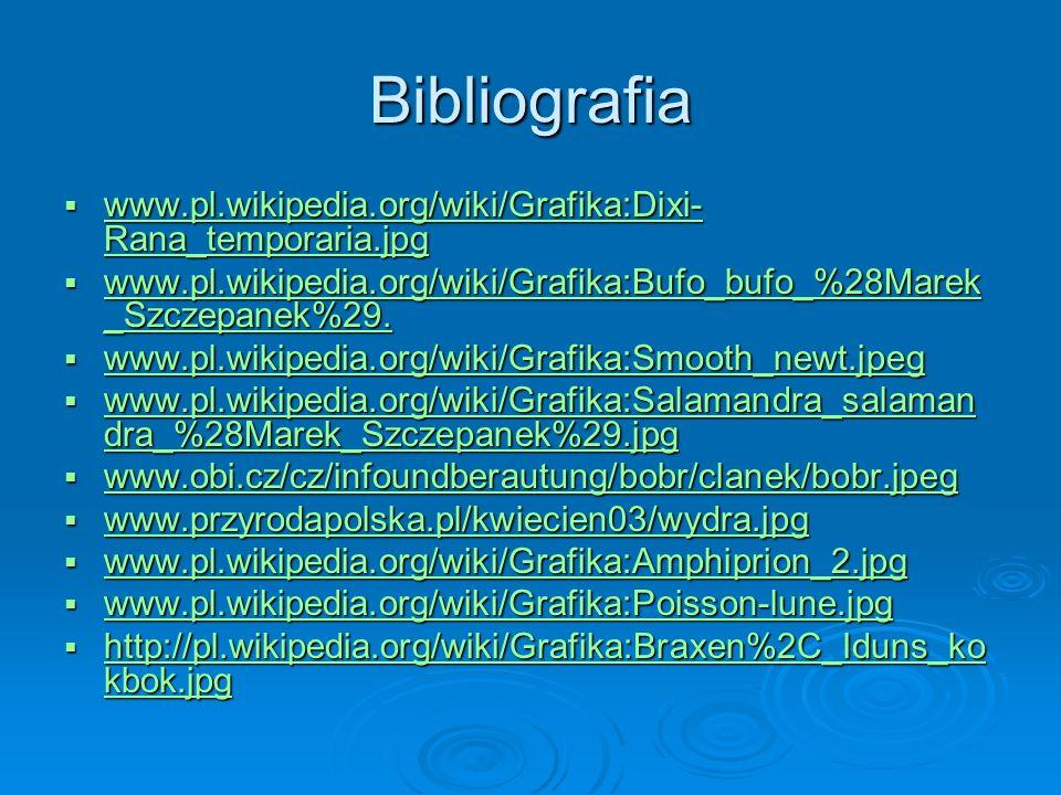 Bibliografia www.pl.wikipedia.org/wiki/Grafika:Dixi- Rana_temporaria.jpg www.pl.wikipedia.org/wiki/Grafika:Dixi- Rana_temporaria.jpg www.pl.wikipedia.org/wiki/Grafika:Dixi- Rana_temporaria.jpg www.pl.wikipedia.org/wiki/Grafika:Dixi- Rana_temporaria.jpg www.pl.wikipedia.org/wiki/Grafika:Bufo_bufo_%28Marek _Szczepanek%29.