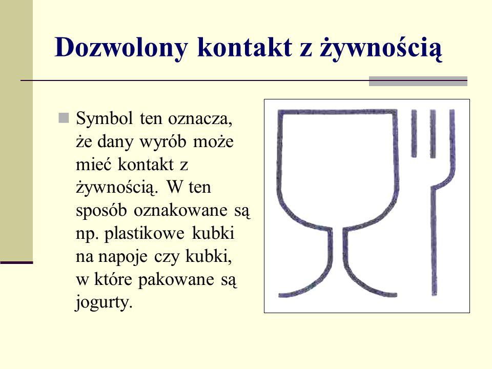 Dozwolony kontakt z żywnością Symbol ten oznacza, że dany wyrób może mieć kontakt z żywnością.