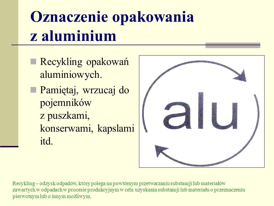 Oznaczenie opakowania z aluminium Recykling opakowań aluminiowych. Pamiętaj, wrzucaj do pojemników z puszkami, konserwami, kapslami itd. Recykling – o