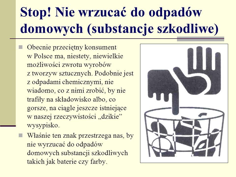 Stop! Nie wrzucać do odpadów domowych (substancje szkodliwe) Obecnie przeciętny konsument w Polsce ma, niestety, niewielkie możliwości zwrotu wyrobów