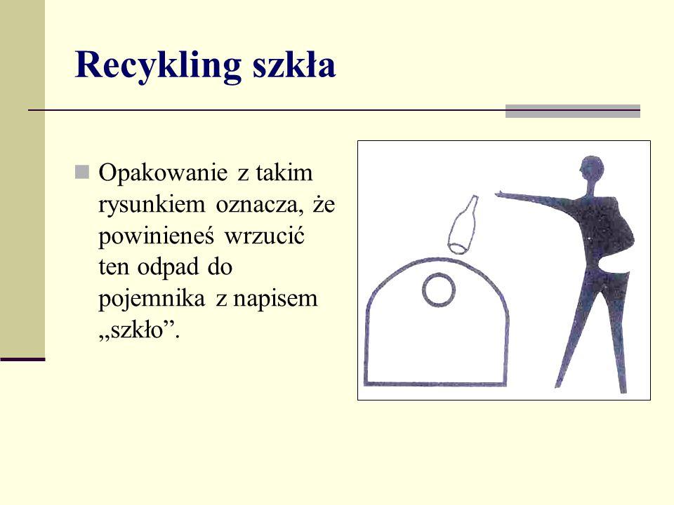 Recykling szkła Opakowanie z takim rysunkiem oznacza, że powinieneś wrzucić ten odpad do pojemnika z napisem szkło.