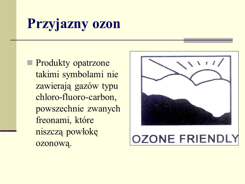 Przyjazny ozon Produkty opatrzone takimi symbolami nie zawierają gazów typu chloro-fluoro-carbon, powszechnie zwanych freonami, które niszczą powłokę