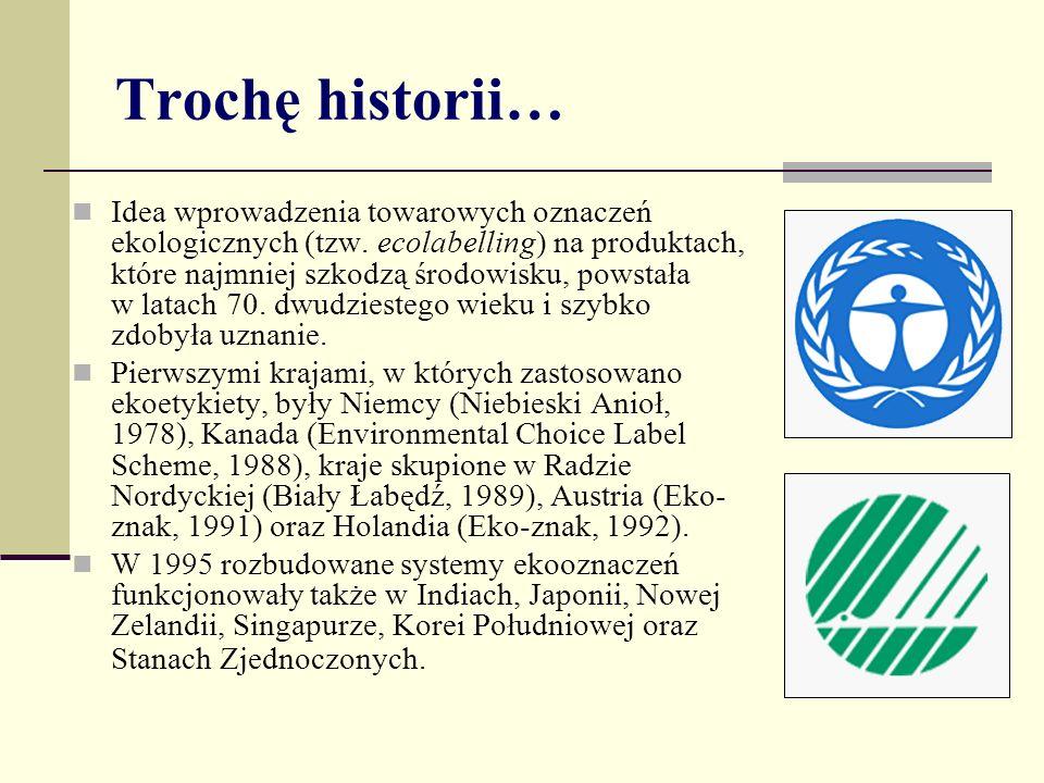 Trochę historii… Idea wprowadzenia towarowych oznaczeń ekologicznych (tzw. ecolabelling) na produktach, które najmniej szkodzą środowisku, powstała w