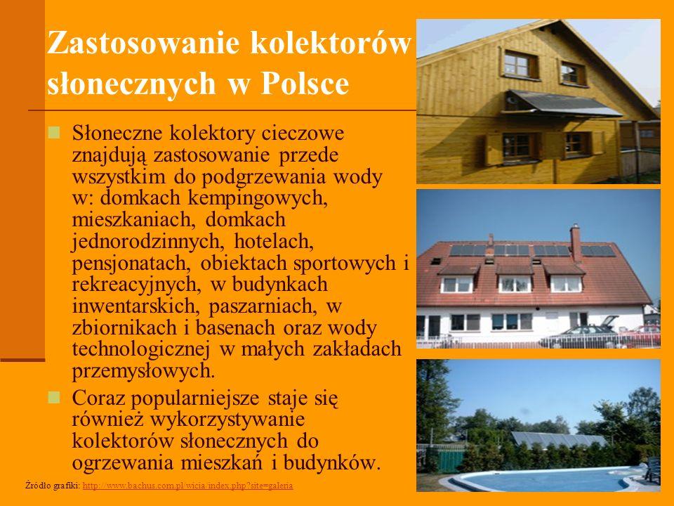 Zastosowanie kolektorów słonecznych w Polsce Słoneczne kolektory cieczowe znajdują zastosowanie przede wszystkim do podgrzewania wody w: domkach kempingowych, mieszkaniach, domkach jednorodzinnych, hotelach, pensjonatach, obiektach sportowych i rekreacyjnych, w budynkach inwentarskich, paszarniach, w zbiornikach i basenach oraz wody technologicznej w małych zakładach przemysłowych.