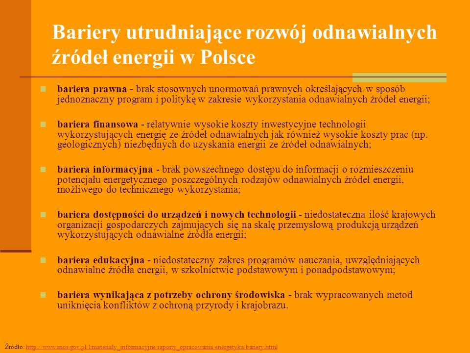 Bariery utrudniające rozwój odnawialnych źródeł energii w Polsce bariera prawna - brak stosownych unormowań prawnych określających w sposób jednoznaczny program i politykę w zakresie wykorzystania odnawialnych źródeł energii; bariera finansowa - relatywnie wysokie koszty inwestycyjne technologii wykorzystujących energię ze źródeł odnawialnych jak również wysokie koszty prac (np.