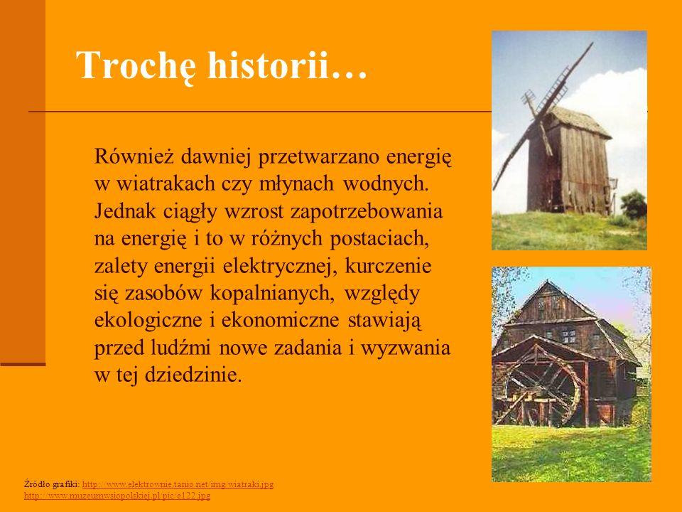Trochę historii… Również dawniej przetwarzano energię w wiatrakach czy młynach wodnych.