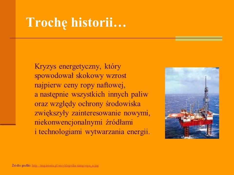 Trochę historii… Kryzys energetyczny, który spowodował skokowy wzrost najpierw ceny ropy naftowej, a następnie wszystkich innych paliw oraz względy ochrony środowiska zwiększyły zainteresowanie nowymi, niekonwencjonalnymi źródłami i technologiami wytwarzania energii.