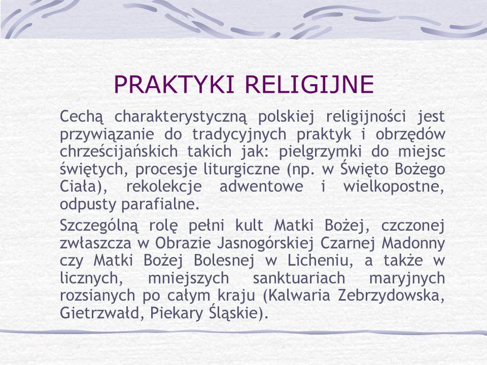PRAKTYKI RELIGIJNE Cechą charakterystyczną polskiej religijności jest przywiązanie do tradycyjnych praktyk i obrzędów chrześcijańskich takich jak: pie