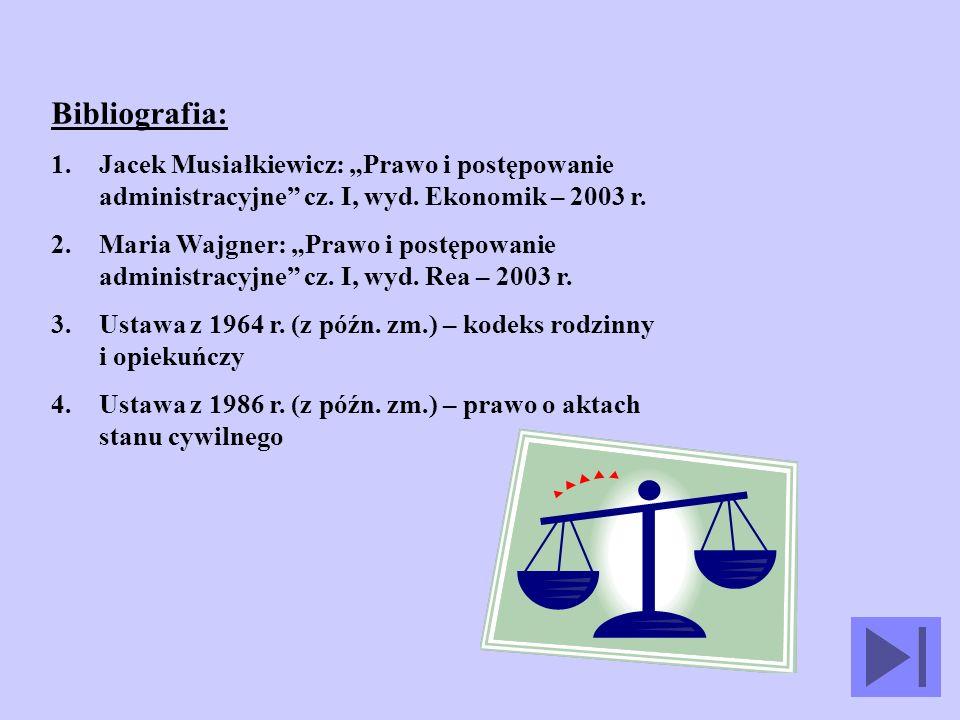 Bibliografia: 1.Jacek Musiałkiewicz: Prawo i postępowanie administracyjne cz.