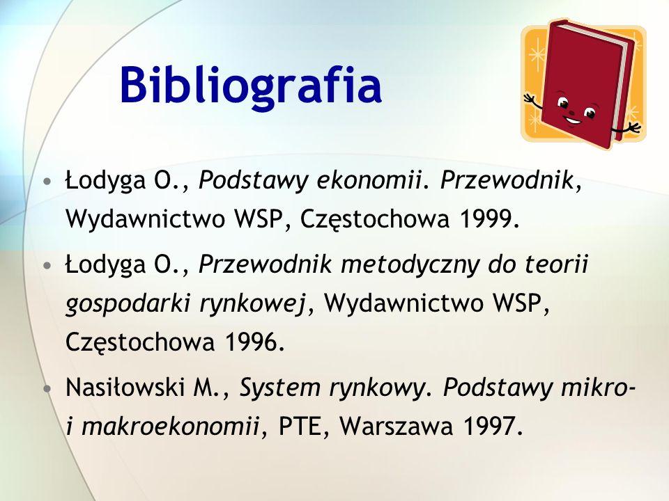 Bibliografia Łodyga O., Podstawy ekonomii. Przewodnik, Wydawnictwo WSP, Częstochowa 1999. Łodyga O., Przewodnik metodyczny do teorii gospodarki rynkow