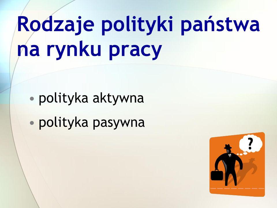 Rodzaje polityki państwa na rynku pracy polityka aktywna polityka pasywna