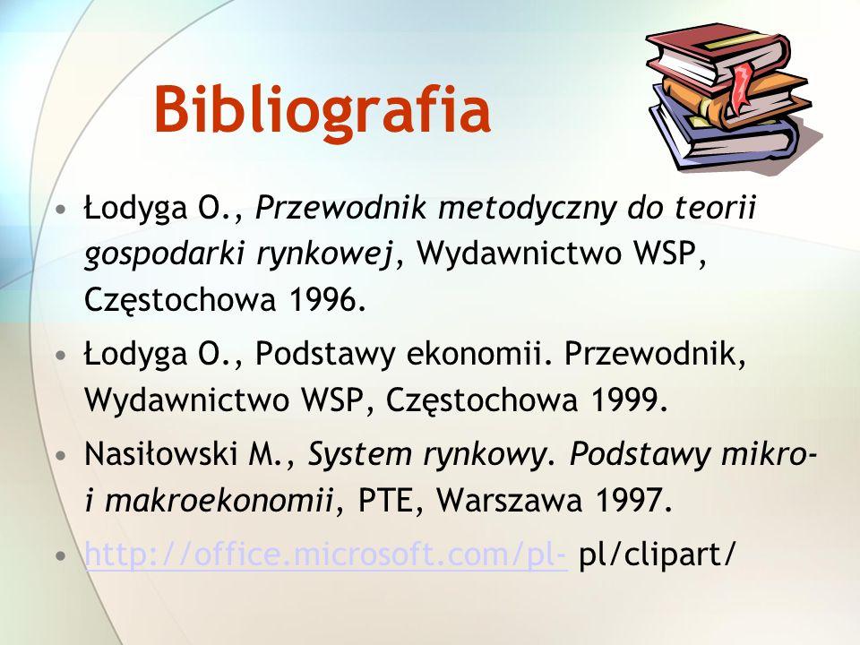 Bibliografia Łodyga O., Przewodnik metodyczny do teorii gospodarki rynkowej, Wydawnictwo WSP, Częstochowa 1996. Łodyga O., Podstawy ekonomii. Przewodn
