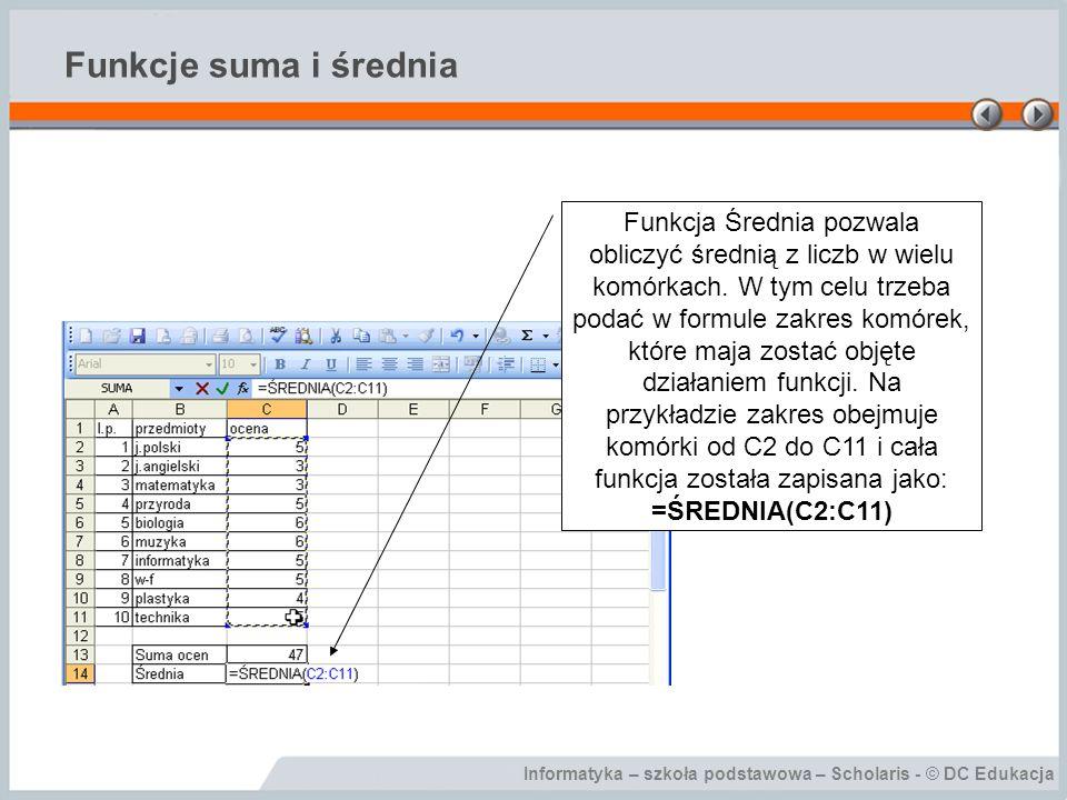 Informatyka – szkoła podstawowa – Scholaris - © DC Edukacja Funkcje suma i średnia Funkcja Średnia pozwala obliczyć średnią z liczb w wielu komórkach.
