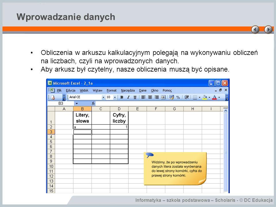 Informatyka – szkoła podstawowa – Scholaris - © DC Edukacja Wprowadzanie danych Obliczenia w arkuszu kalkulacyjnym polegają na wykonywaniu obliczeń na