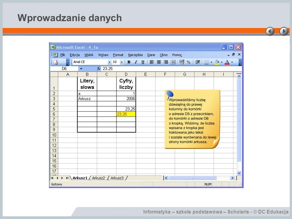 Informatyka – szkoła podstawowa – Scholaris - © DC Edukacja Wprowadzanie danych