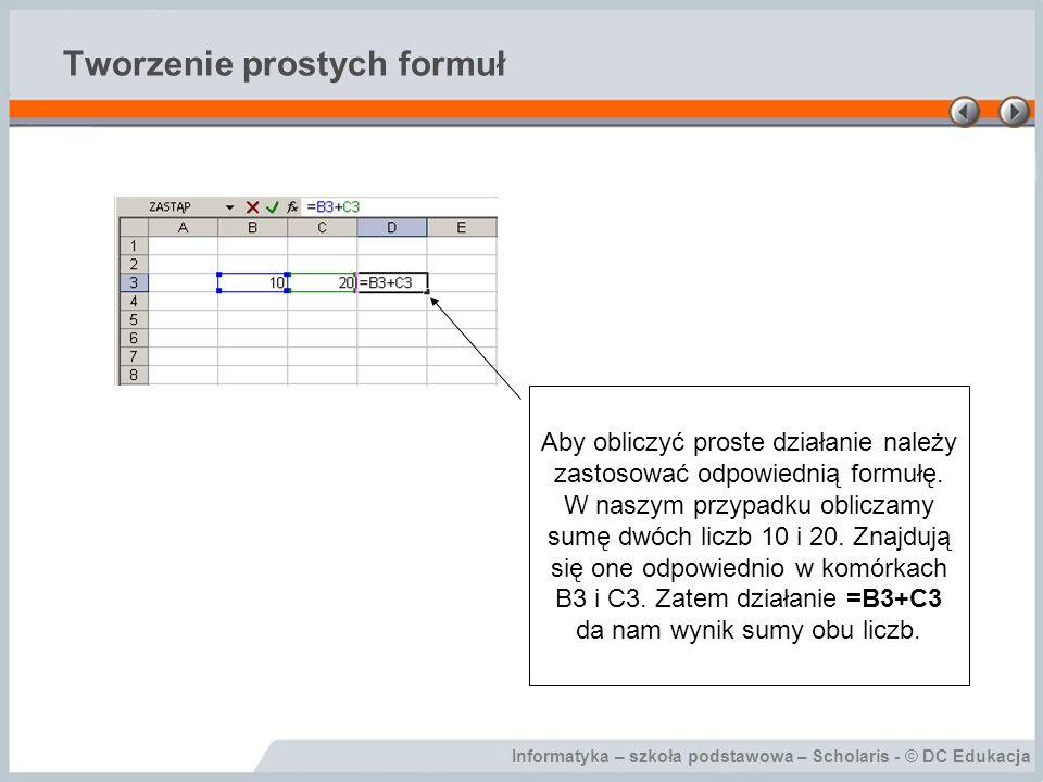 Informatyka – szkoła podstawowa – Scholaris - © DC Edukacja Tworzenie prostych formuł Aby obliczyć proste działanie należy zastosować odpowiednią form