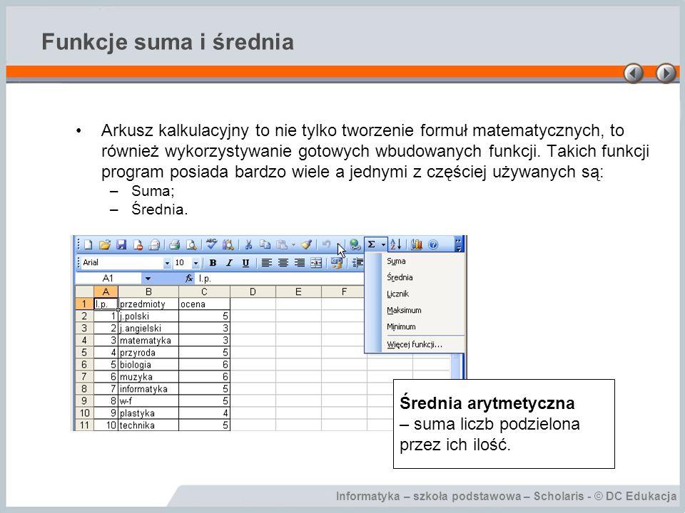 Informatyka – szkoła podstawowa – Scholaris - © DC Edukacja Funkcje suma i średnia Arkusz kalkulacyjny to nie tylko tworzenie formuł matematycznych, t