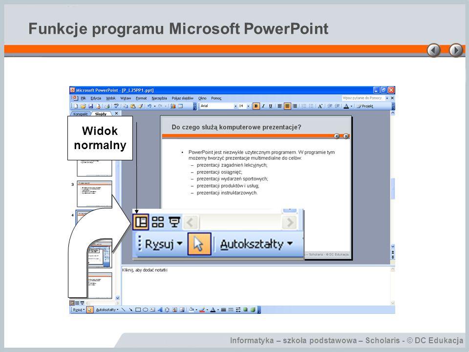 Informatyka – szkoła podstawowa – Scholaris - © DC Edukacja Funkcje programu Microsoft PowerPoint Widok normalny