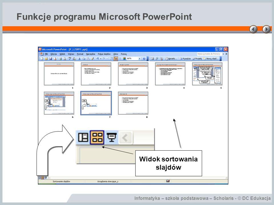 Informatyka – szkoła podstawowa – Scholaris - © DC Edukacja Funkcje programu Microsoft PowerPoint Widok sortowania slajdów