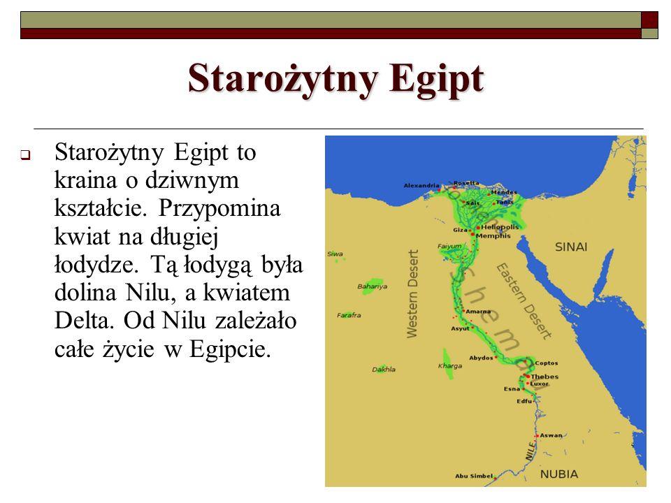 Starożytny Egipt Starożytny Egipt to kraina o dziwnym kształcie. Przypomina kwiat na długiej łodydze. Tą łodygą była dolina Nilu, a kwiatem Delta. Od