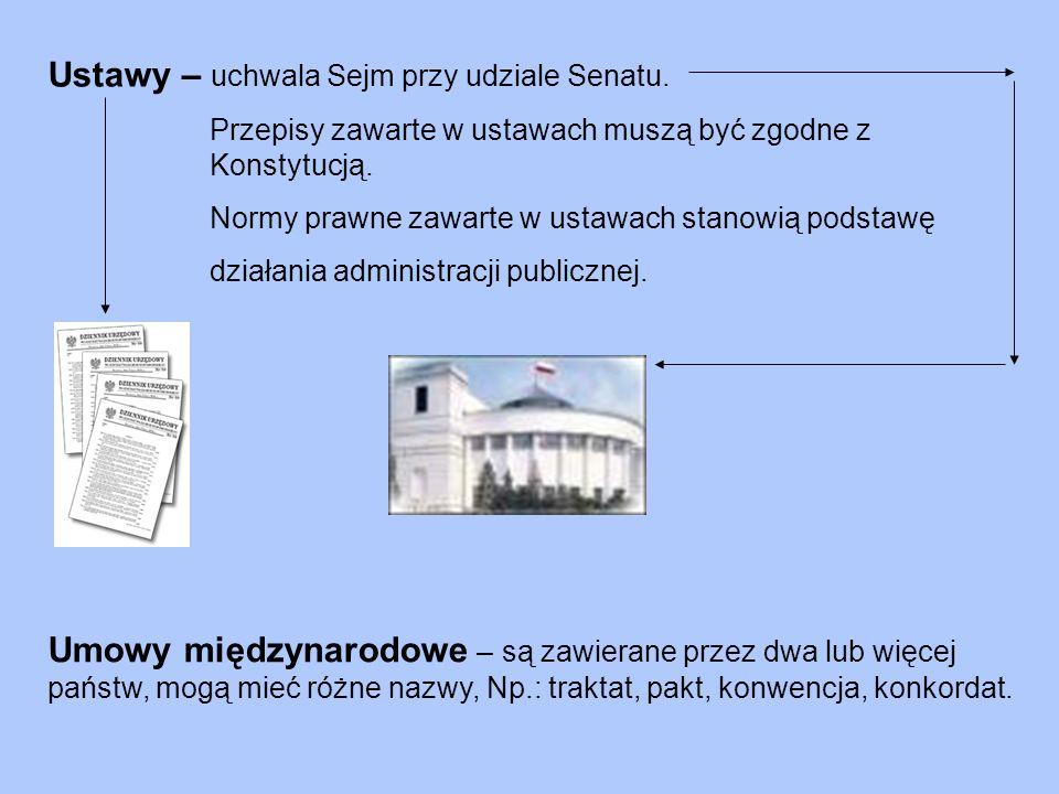 Konstytucja – jako ustawa zasadnicza uchwalona 2 kwietnia 1997 r. przez Zgromadzenie Narodowe, czyli połączone Izby Sejmu i Senatu; określa podstawowe