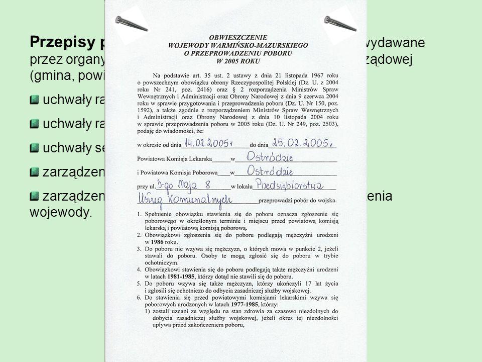 Rozporządzenia – to akty normatywne wydawane przez: Prezydenta RP, Radę Ministrów, ministrów i Prezesa Rady Ministrów. Warunkami ważności rozporządzen