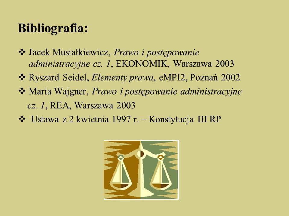 Bibliografia: Jacek Musiałkiewicz, Prawo i postępowanie administracyjne cz.