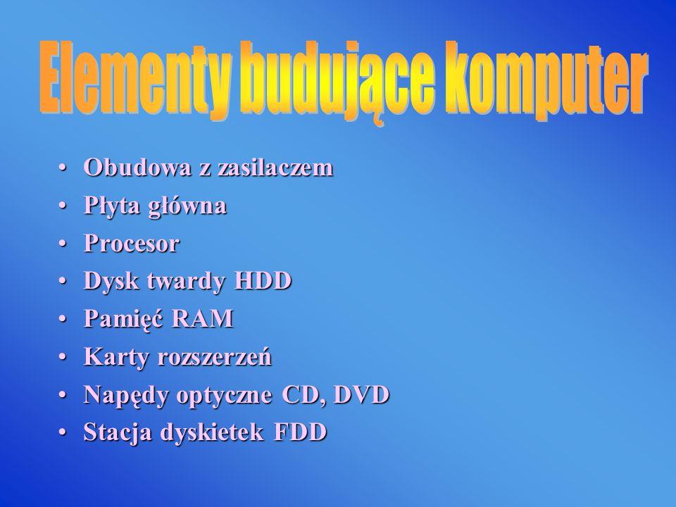 Obudowa z zasilaczemObudowa z zasilaczem Płyta głównaPłyta główna ProcesorProcesor Dysk twardy HDDDysk twardy HDD Pamięć RAMPamięć RAM Karty rozszerzeńKarty rozszerzeń Napędy optyczne CD, DVDNapędy optyczne CD, DVD Stacja dyskietek FDDStacja dyskietek FDD