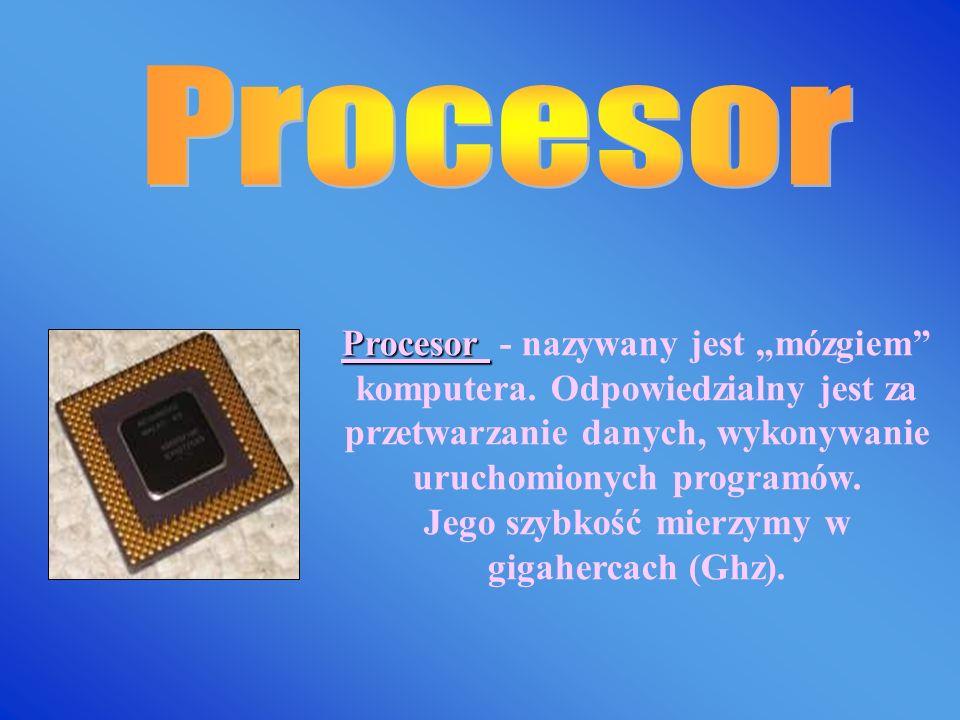 Płyta główna Płyta główna zbudowana jest z układów scalonych. Łączy wszystkie elementy budujące komputer oraz zapewnienia komunikacje między nimi.