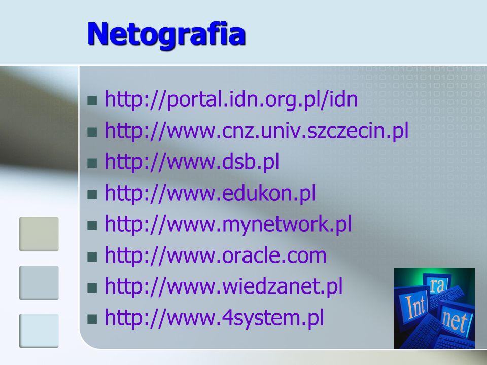 Netografia http://portal.idn.org.pl/idn http://www.cnz.univ.szczecin.pl http://www.dsb.pl http://www.edukon.pl http://www.mynetwork.pl http://www.orac