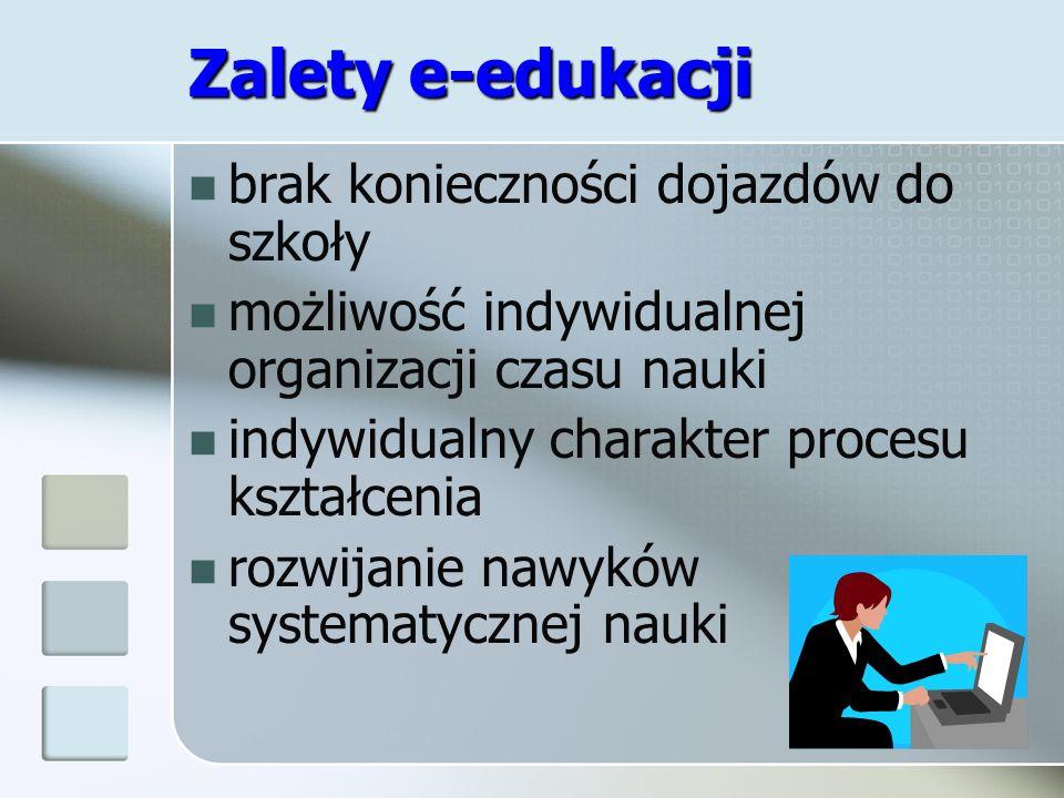 Zalety e-edukacji brak konieczności dojazdów do szkoły możliwość indywidualnej organizacji czasu nauki indywidualny charakter procesu kształcenia rozw