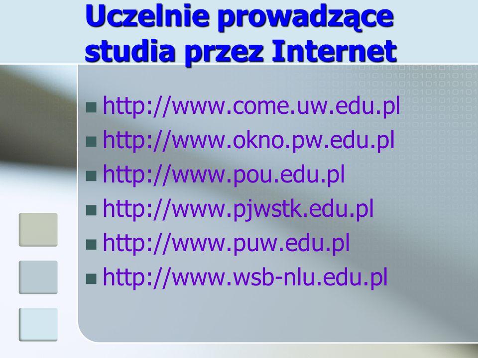 Uczelnie prowadzące studia przez Internet http://www.come.uw.edu.pl http://www.okno.pw.edu.pl http://www.pou.edu.pl http://www.pjwstk.edu.pl http://ww