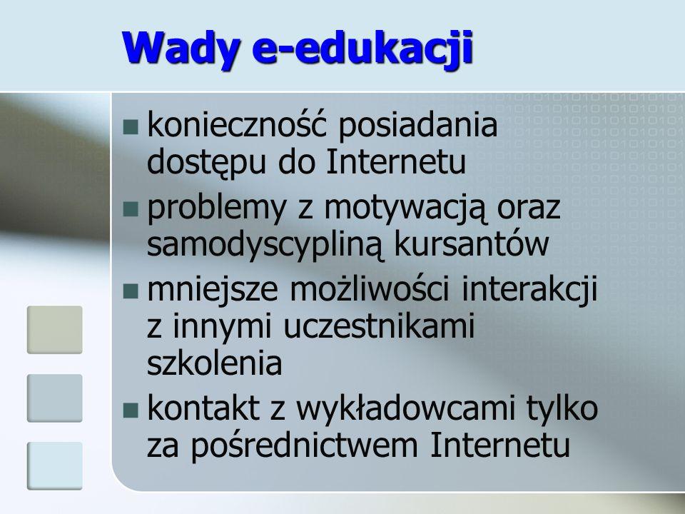 Wady e-edukacji konieczność posiadania dostępu do Internetu problemy z motywacją oraz samodyscypliną kursantów mniejsze możliwości interakcji z innymi