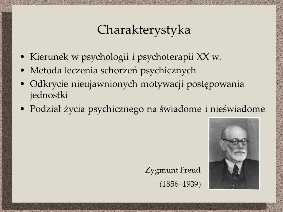 Charakterystyka Kierunek w psychologii i psychoterapii XX w. Metoda leczenia schorzeń psychicznych Odkrycie nieujawnionych motywacji postępowania jedn
