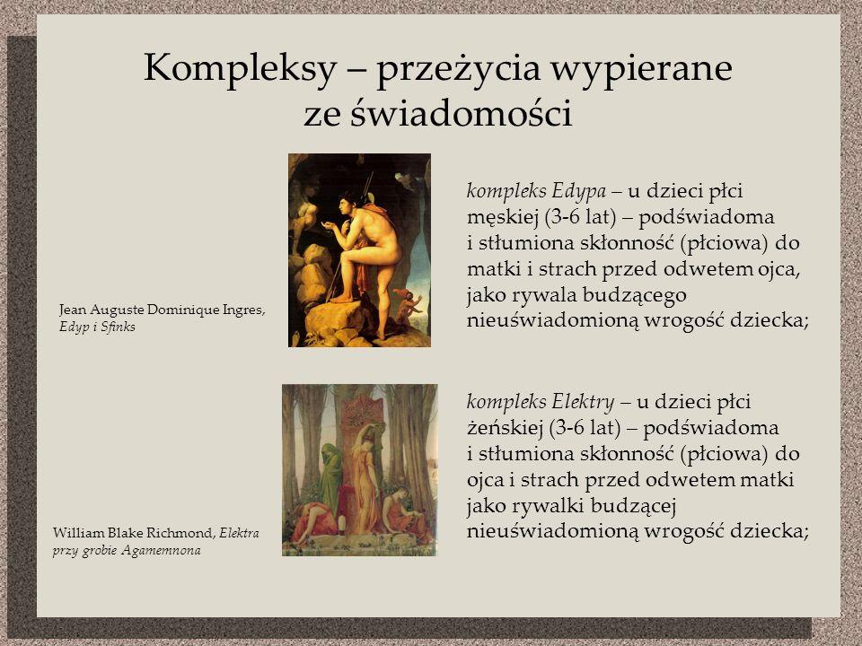 Kompleksy – przeżycia wypierane ze świadomości Jean Auguste Dominique Ingres, Edyp i Sfinks William Blake Richmond, Elektra przy grobie Agamemnona kompleks Edypa – u dzieci płci męskiej (3-6 lat) – podświadoma i stłumiona skłonność (płciowa) do matki i strach przed odwetem ojca, jako rywala budzącego nieuświadomioną wrogość dziecka; kompleks Elektry – u dzieci płci żeńskiej (3-6 lat) – podświadoma i stłumiona skłonność (płciowa) do ojca i strach przed odwetem matki jako rywalki budzącej nieuświadomioną wrogość dziecka;