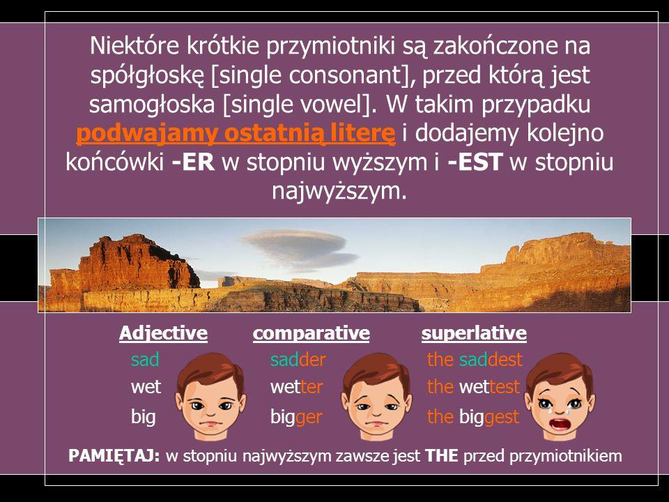 Niektóre krótkie przymiotniki są zakończone na spółgłoskę [single consonant], przed którą jest samogłoska [single vowel]. W takim przypadku podwajamy