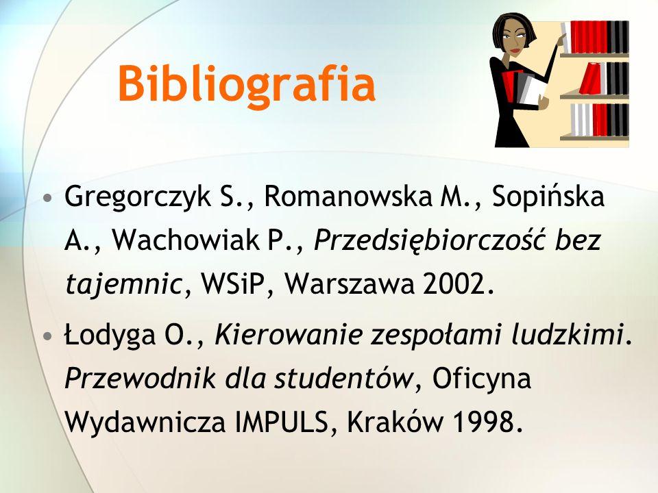 Bibliografia Gregorczyk S., Romanowska M., Sopińska A., Wachowiak P., Przedsiębiorczość bez tajemnic, WSiP, Warszawa 2002. Łodyga O., Kierowanie zespo