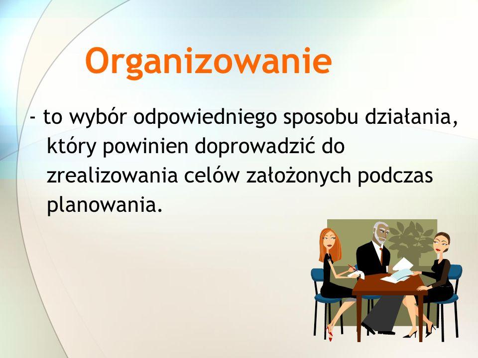 Organizowanie - to wybór odpowiedniego sposobu działania, który powinien doprowadzić do zrealizowania celów założonych podczas planowania.