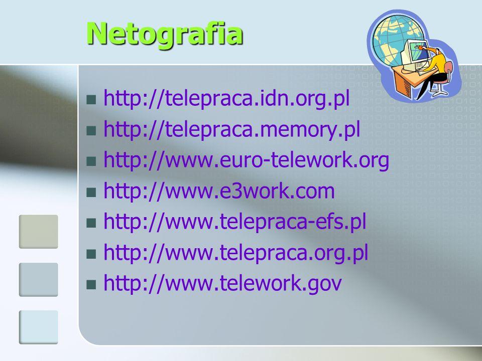 Netografia http://telepraca.idn.org.pl http://telepraca.memory.pl http://www.euro-telework.org http://www.e3work.com http://www.telepraca-efs.pl http: