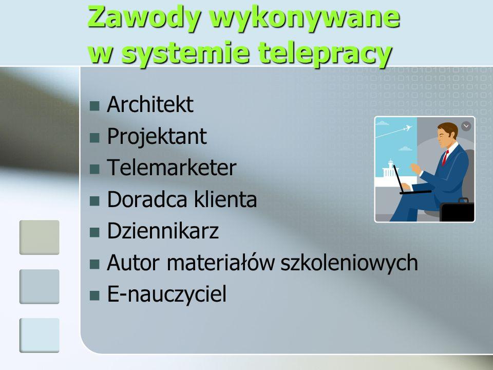 Zawody wykonywane w systemie telepracy Architekt Projektant Telemarketer Doradca klienta Dziennikarz Autor materiałów szkoleniowych E-nauczyciel